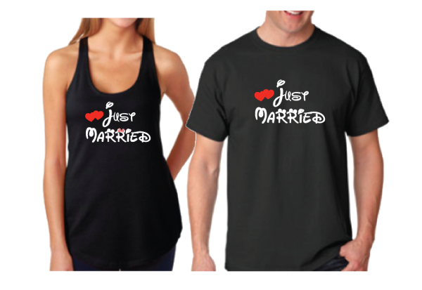 Cute I'm Her Prince I'm His Princess Wedding Date Just Married Matching Couple Shirts married with mickey