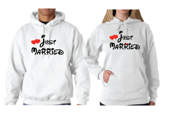 Cute I'm Her Prince I'm His Princess Wedding Date Just Married Matching Couple Shirts married with mickey white hoodies