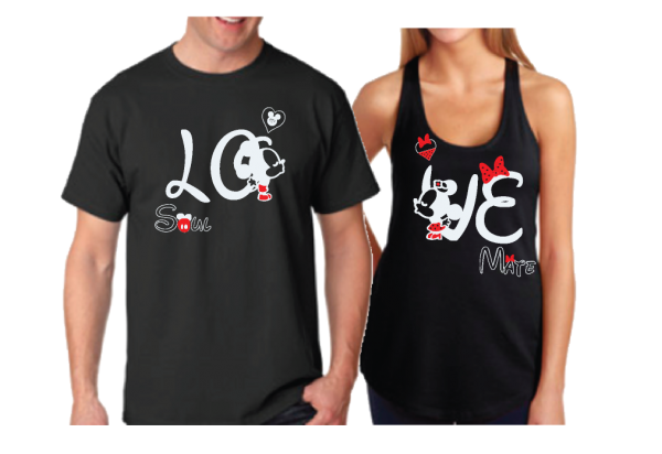 Disney LoVe SoulMate Matching Couple Shirts With Mickey Minnie Kissing for Mr and Mrs married with mickey black mens tshirt and ladies tank top