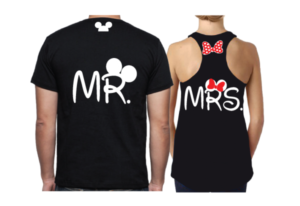 Disney LoVe SoulMate Matching Couple Shirts With Mickey Minnie Kissing for Mr and Mrs married with mickey black mens tshirt and ladies tank top married with mickey