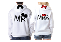 Disney LoVe SoulMate Matching Couple Shirts With Mickey Minnie Kissing for Mr and Mrs married with mickey white pullover hoodies