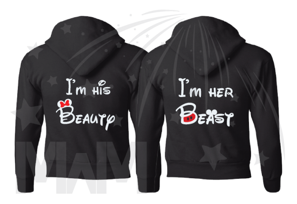 I'm His Beauty I'm Her Beast Back Disney Font Design married with mickey black pullover hoodies jumpers