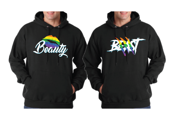 LGBT Gay Beast With Lion Scratch Rainbow Colors Beauty With Cute Lips Rainbow Colors married with mickey black jumpers hoodies pullovers