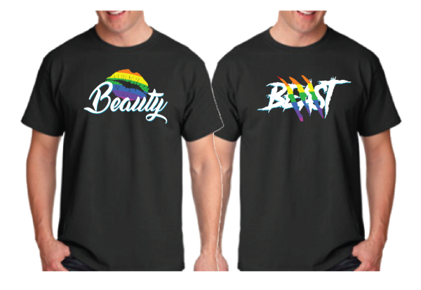 LGBT Gay Beast With Lion Scratch Rainbow Colors Beauty With Cute Lips Rainbow Colors married with mickey black tshirts