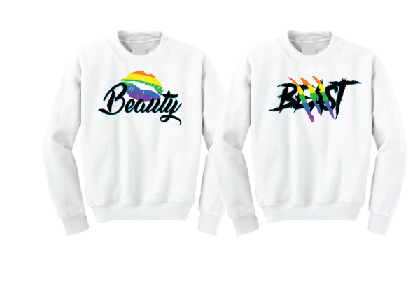LGBT Gay Beast With Lion Scratch Rainbow Colors Beauty With Cute Lips Rainbow Colors married with mickey white sweaters
