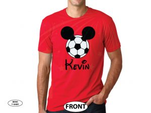 Mickey Mouse Football Head, Custom Name married with mickey red tshirt