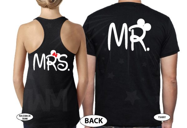 Mr and Mrs Disney Cute Couple Matching Shirts With Your Wedding Date married with mickey black ladies tank top mens tee