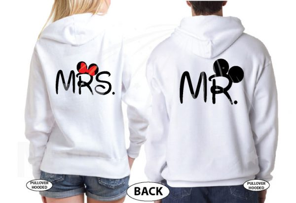 Cute Just Married Shirts For Mr Mrs With Big Mickey Minnie Mouse Ears married with mickey white jumpers