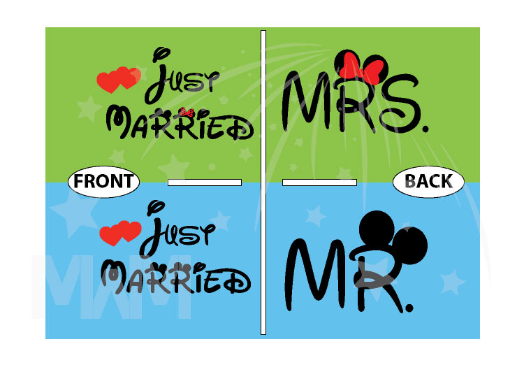 Cute Just Married Shirts For Mr Mrs With Big Mickey Minnie Mouse Ears married with mickey