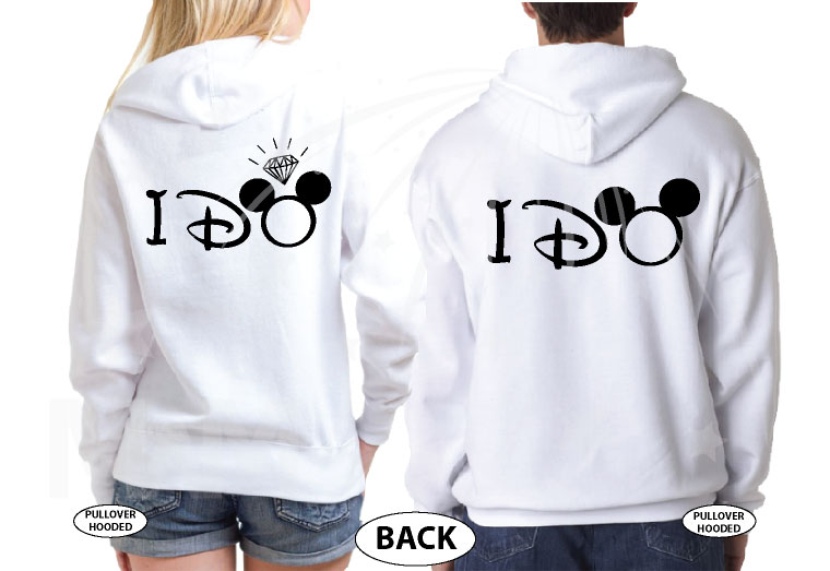 She's Mine He's Mine I Do With Mickey Pointing Hand Diamond Ring Best Disneymoon married with mickey white hoodies