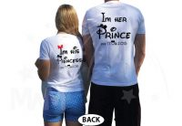Mr I'm Her Prince Mrs I'm His Princess Wedding Date Custom Names Disney Font married with mickey white tees