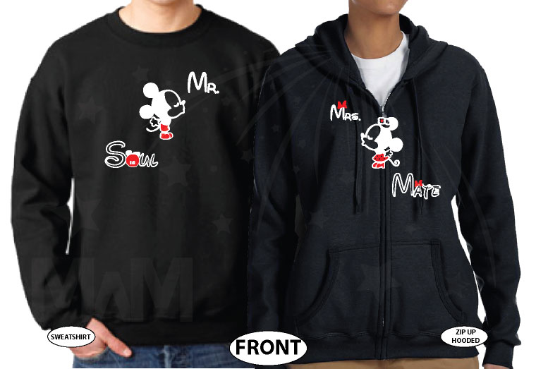 Mr Mrs Soul Mate Hey Mickey You're So Fine Minnie You Blow My Mind Cool T-Shirts, Tank Tps, Hoodies and more married with mickey black sweater and zip up
