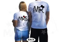 Disney Mr Mrs Matching Couple Shirts With Mickey Minnie Mouse Kissing married with mickey white tshirts