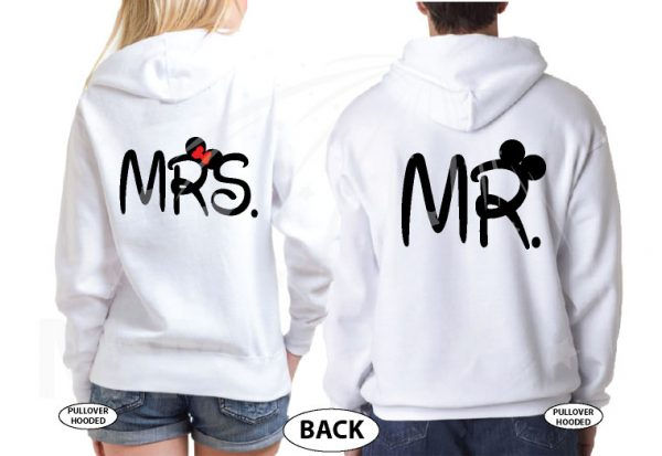Disney Mr Mrs Matching Couple Shirts With Mickey Minnie Mouse Kissing married with mickey white pullovers