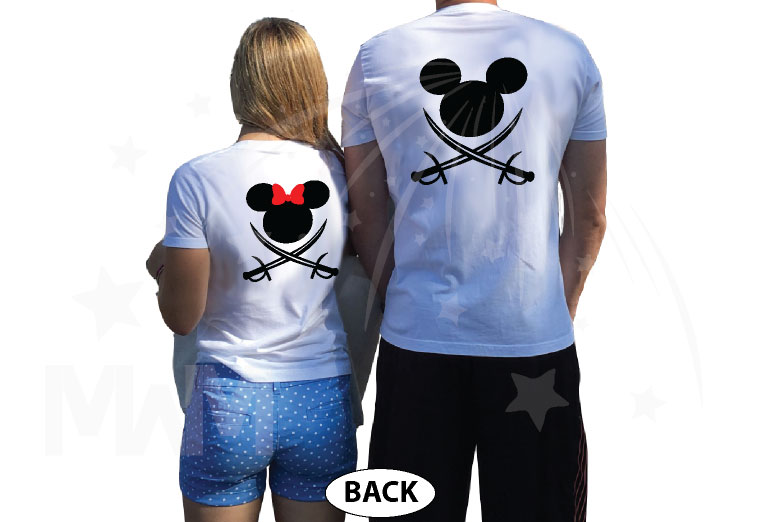 Disney Couple Mickey Minnie Mouse Pirate Awesome Shirts With Custom Names married with mickey white tshirts