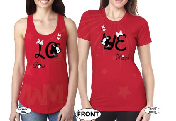 LGBT Lesbians Love Soulmate Shirts Kissing Minnie Mouse Cute Polka Dot Bow (free rhinestones, optional) married with mickey mwm red tank and tshirt