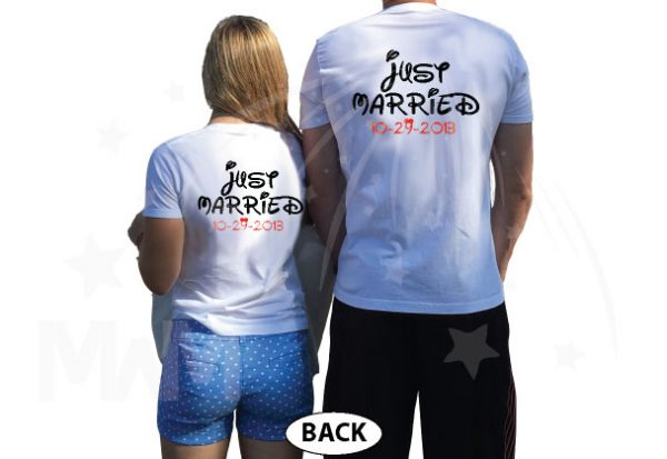 Just Married Custom Wedding Date Little Mickey Minnie Mouse Cute Kiss married with mickey white tshirts