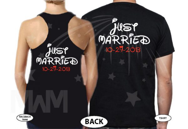 Just Married Custom Wedding Date Little Mickey Minnie Mouse Cute Kiss married with mickey black tank top tshirt