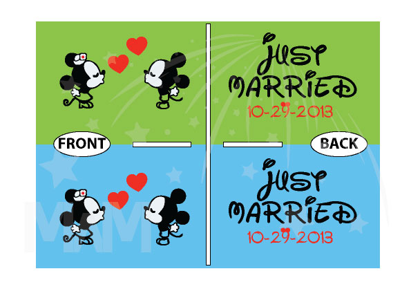 Just Married Custom Wedding Date Little Mickey Minnie Mouse Cute Kiss married with mickey