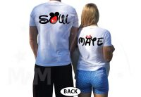 Soul Mate Couple Shirts Disney Font Minnie Mouse Bow Mickey Mouse Pants married with mickey white tshirts