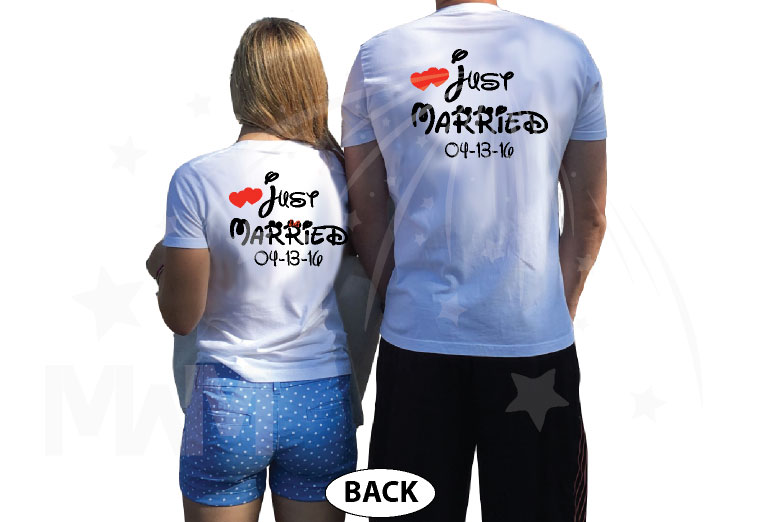 500033 Just Married Disney Couple Matching Shirts For Mr Mrs With Special Wedding Date married with mickey white tshirts