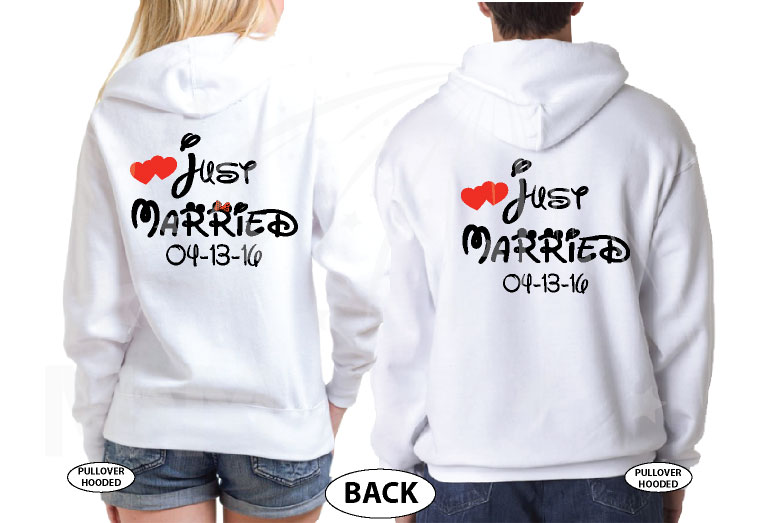 500033 Just Married Disney Couple Matching Shirts For Mr Mrs With Special Wedding Date married with mickey white sweaters