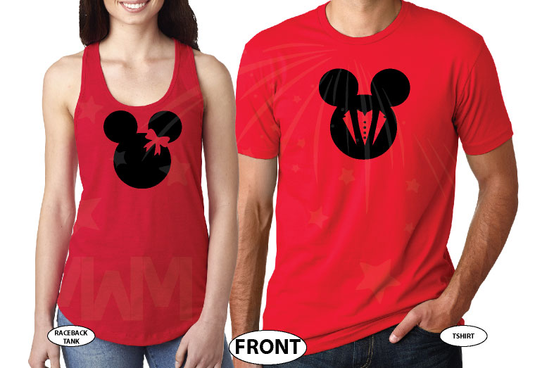 Bride And Groom Costumes Mr Mrs With Wedding Date married with mickey red tshirts
