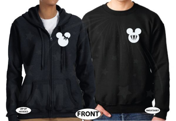 Bride And Groom Costumes Mr Mrs With Wedding Date married with mickey black hoodies