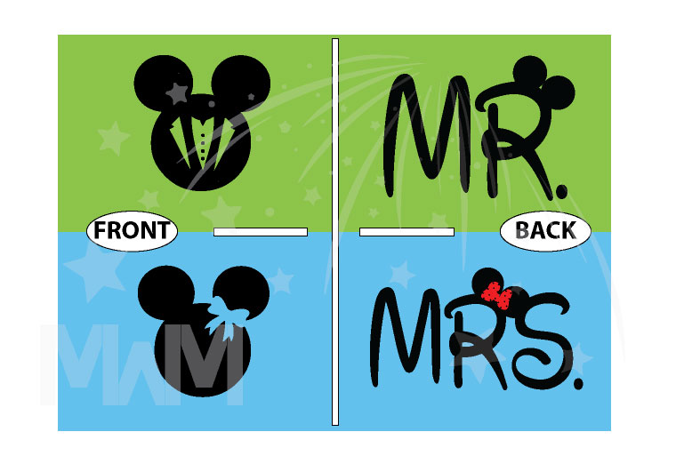Bride And Groom Costumes Mr Mrs With Wedding Date married with mickey