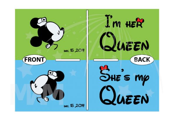 LGBT Lesbian She's My Queen I'm Her Queen Kissing Minnie Mouse, Wedding Date On Sleeve married with mickey