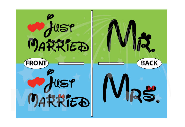Just Married Matching Couple Apparel For Mr Mrs married with mickey