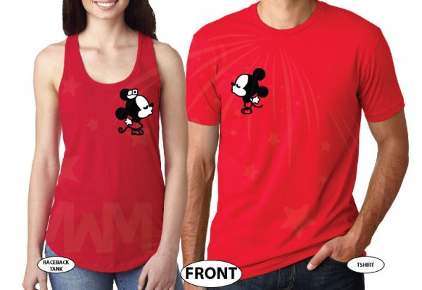 Cute Mickey Minnie Mouse Kissing Mr Mrs married with mickey red tshirts