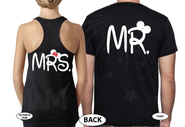 Cute Mickey Minnie Mouse Kissing Mr Mrs married with mickey black tshirts
