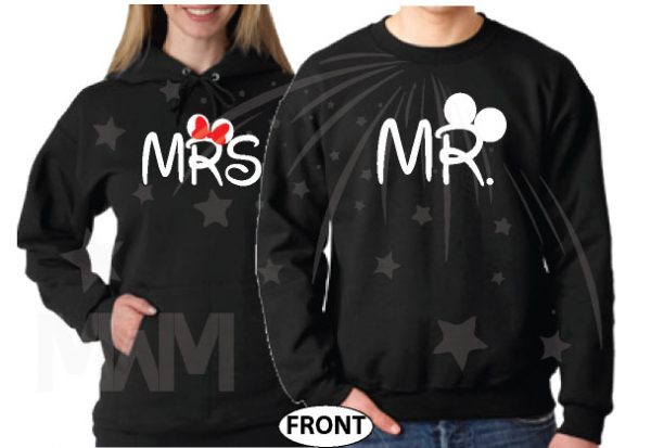 Disney Cute Matching Shirts Together Since Forever Mickey Minnie Mouse For Mr and Mrs married with mickey mwm black hoodies