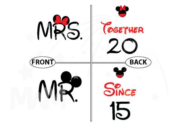 Disney Cute Matching Shirts Together Since Forever Mickey Minnie Mouse For Mr and Mrs married with mickey mwm