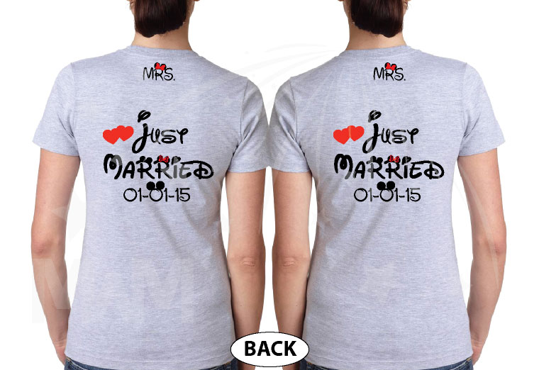 LGBT Lesbian Just Married Cute Couple for Mrs With Wedding Date On Shirts married with mickey mwm grey tees
