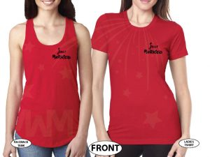 LGBT Lesbian Just Married Cute Couple for Mrs With Wedding Date On Shirts married with mickey mwm red tees