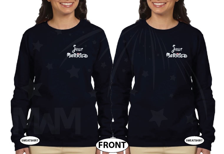LGBT Lesbian Just Married Cute Couple for Mrs With Wedding Date On Shirts married with mickey mwm black sweatshirts