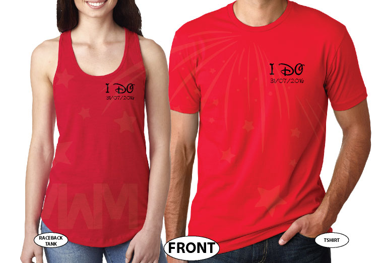 I Do Wedding Date Mr Mrs Custom Last Name, Cute Minnie Mouse Polka Dot Red Bow and Mickey Mouse Head On Hood married with mickey red tshirts