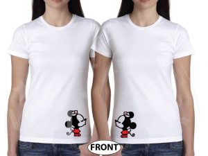 LGBT Lesbian Very Cute Couple Shirts For Mrs Little Minnie Mouse Kissing With Last Name and Special Date married with mickey white tshirts