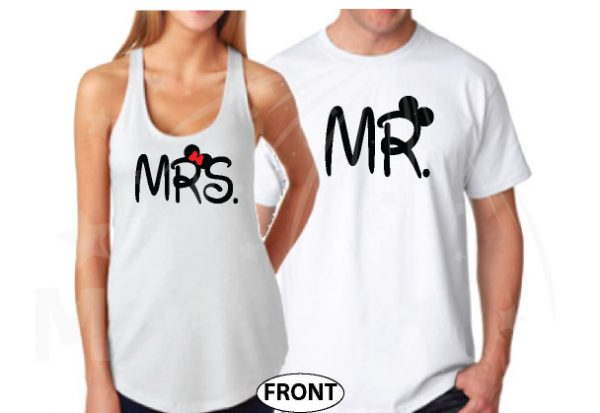 Mr and Mrs Mickey Minnie Mouse Disney Cute Holding Hands married with mickey mwm white ladies tank top and mens tshirt