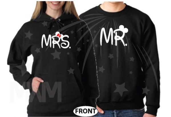 Mr and Mrs Mickey Minnie Mouse Disney Cute Holding Hands married with mickey mwm black hoodies
