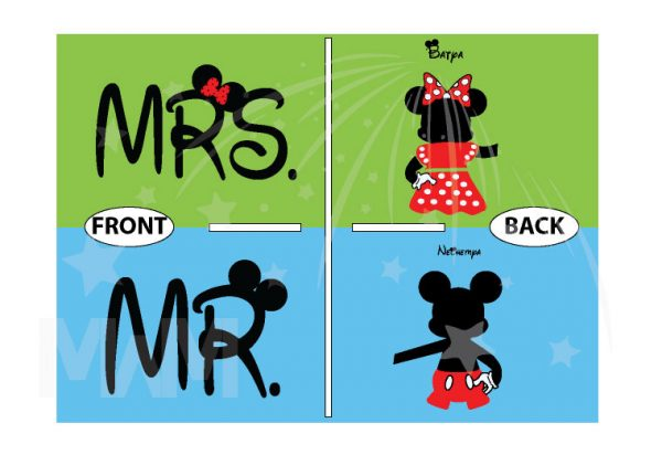 Mr and Mrs Mickey Minnie Mouse Disney Cute Holding Hands married with mickey