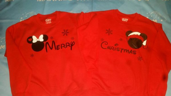 Merry Christmas Disney Matching Shirts Mickey Minnie Mouse Head Snowflakes married with mickey red long sleeves