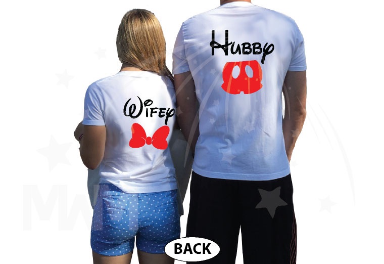 Hubby Wifey Mickey Mouse Pants Minnie Mouse Cute Bow married with mickey white tees