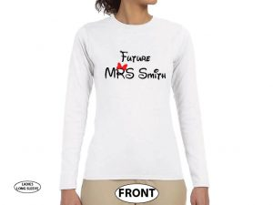 Future Mrs (with your name) Cute little Red Minnie Mouse bow married with mickey white long sleeve