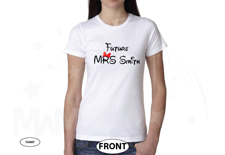 Future Mrs (with your name) Cute little Red Minnie Mouse bow married with mickey white tshirt