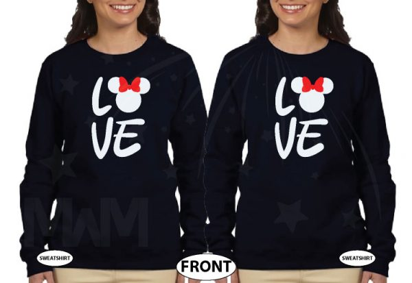 LGBT Lesbian Shirts Love Hers Minnie Mouse Head With Cute Red Bow Ladies T-Shirts, Woman's V Neck Tshirts, Ladies Tank Tops and more married with mickey black sweatshirts