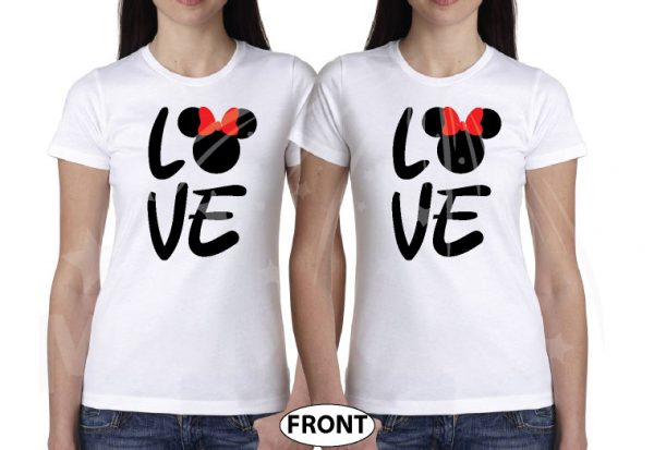LGBT Lesbian Shirts Love Hers Minnie Mouse Head With Cute Red Bow Ladies T-Shirts, Woman's V Neck Tshirts, Ladies Tank Tops and more married with mickey white tees