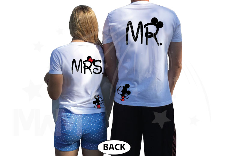 Mr and Mrs Disney Cute Couple Matching Shirts With Your Wedding Date And Kissing Mickey And Minnie married with mickey white tshirts